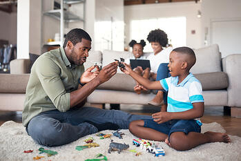 African American Family Playing Legos