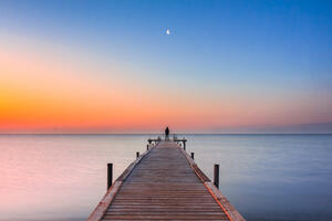 Pier into Water_Moon at Sunset_Large