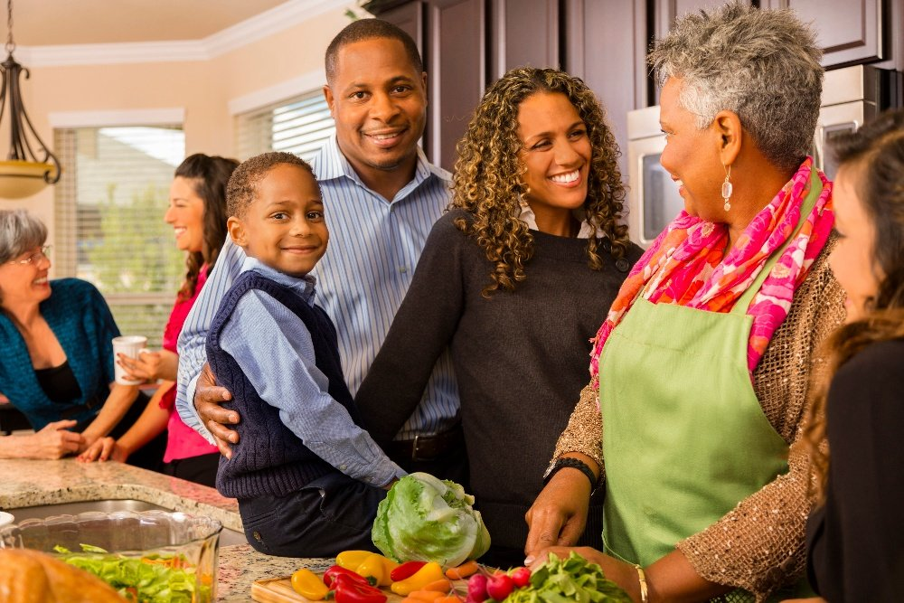 African American Family_Holidays_Preparing Healthy Meal