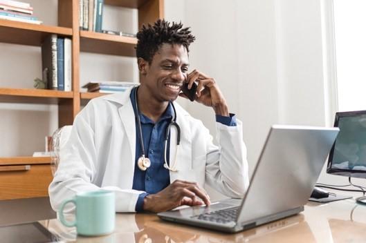 Physician-at-laptop